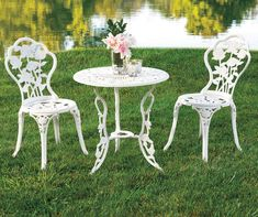 Buy a Vintage White Rose Bistro Set at Big Lots for less. Shop Big Lots Patio Sets & Chairs in our department for our complete selection. Affordable Outdoor Furniture, Indoor Outdoor Furniture, Outdoor Rooms, Outdoor Chairs, Adirondack Chairs, Table And Chairs, A Table, Latifa, 3 Piece Bistro Set