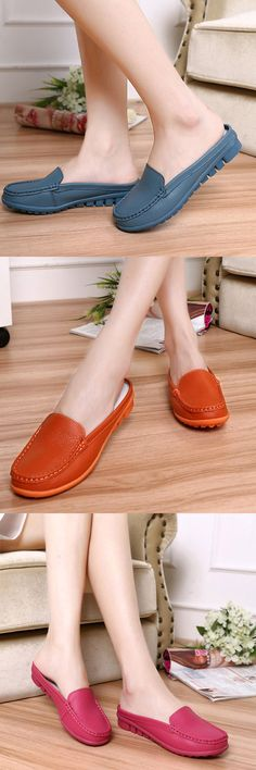 $14.20 Big Size Pure Color Backless Soft Leather Slip On Casual Shoes,flats shoes,flats outfit,flats sandals,loafers