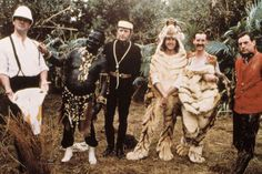 John Cleese, Terry Gilliam, Graham Chapman, Eric Idle, Michael Palin and Terry Jones from Monty Python on set in 1983.