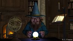 """The Vision"" Fantasy Artwork by R. L. Crepeau. step right up and the old wizard will gaze into the crystal ball to see your future. #wizard #crystal call #fortune #3dart #crepeau"