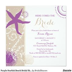 Purple Starfish Beach Bridal Shower Card Cute starfish and geometric circles in shades of purple + ivory & tan background + white beach sand and brown sea shell illustrated on custom Bridal Shower Invitations. Your party guests will adore the whimsical starfish design that will be wonderful for your SUMMER BRIDAL SHOWER | MODERN BEACH BRIDAL SHOWER | PURPLE IVORY TAUPE COLOR SCHEME WEDDING SHOWER or ISLAND THEMED BRIDAL SHOWER!
