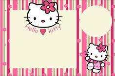 Hello Kitty With Flowers: Free Printable Invitations. - Oh with regard to Hello Kitty Birthday Banner Template Free - Business Template Ideas Hello Kitty Invitation Card, Hello Kitty Birthday Invitations, Invitation Cards, Birthday Cards, Invitation Ideas, Invitation Background, Invitation Templates, Happy Birthday, Hello Kitty Backgrounds