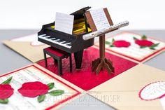 Ein Klavier bzw. Flügel, hergestellt mit Schneidplotter | Mediendesign MoserMediendesign Moser Exploding Box Card, How To Start Yoga, Cheer Up, Paper Models, Printable Paper, Diy Hacks, Art School, Musical Instruments, Silhouette Cameo