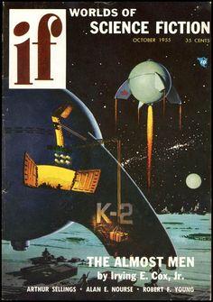 """Une sélection de couvertures rétro de la science-fiction des années 50 - 60, issues du magazine américain de science-fiction de l'époque, """"IF Science Ficti"""