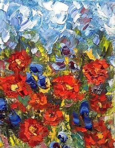 """Daily Painters Abstract Gallery: Palette Knife Poppy Landscape Painting """"Poppycock-2"""" by Colorado Impressionist Judith Babcock"""