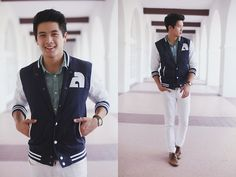 Akufuncture Varsity Jacket, H&M Mint Shirt, Pacsun White Pants, Aldo Cognac Brogue Shoes, Walmart Green Watch