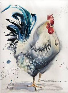 """Saatchi Art Artist Olga Flerova; Painting, """"White rooster №1"""" #art"""