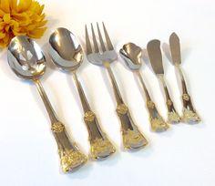 $65.00 6pcs Gold Accent Flatware Royal Albert Old Country Roses Hostess Set Serving Spoons Fork Spreader Knives Ornate Floral Flowes Golden Bridal
