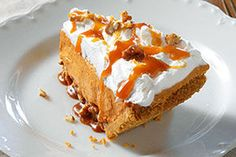 This recipe takes pumpkin pie to a whole new level, with drizzled caramel, chopped pecans and airy COOL WHIP Whipped Topping. Cue the applause.