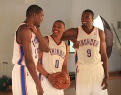 They're havin' fun at Media Day Kevin Durant, Russell Westbrook, Serge Ibaka.  2012 Thunder Media Day | THE OFFICIAL SITE OF THE OKLAHOMA CITY THUNDER