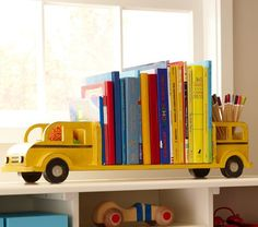 I love anything in painted wood... add books and you have 2 of my favorite things! My boys would love this!