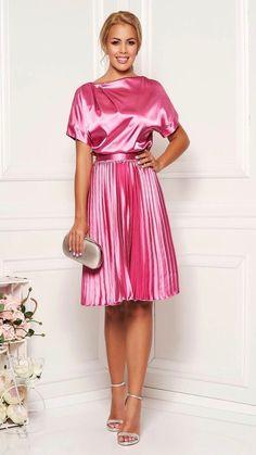 Neon Pink Dresses, Fuchsia Dress, Frilly Dresses, Dressy Dresses, Satin Dresses, Short Dresses, Elegant Midi Dresses, Elegant Outfit, Unique Dresses