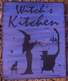primitive Witches Kitchen Witch Sign Handpainted Plaque Witchcraft Folk Art Halloween Witches halloween decorations Hearth Pagan Wiccan Magic by SleepyHollowPrims $24.30