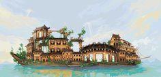 Fai-fo: Swimming Town Ship Pixel Artist: Socnau Source: socnau.deviantart.com