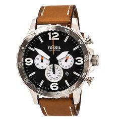 Fossil JR1486 Men's Nate Black Dial Tan Leather Strap Chronograph Watch