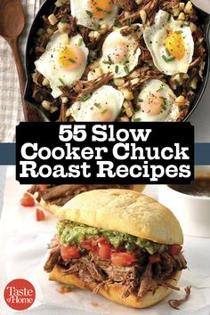 55 Slow Cooker Chuck Roast Recipes 55 Ways to Slow Cook a Chuck Roast - From tender pot roast to beefy sandwiches, these slow cooker chuck roast recipes are beefed up to the max. Slow Cook Roast, Cooking A Roast, Slow Cooked Meals, Crock Pot Slow Cooker, Crock Pot Cooking, Pot Roast, Cooking Corn, Crock Pots, Chuck Steak Recipes