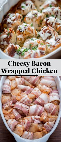 This Cheesy Bacon Wrapped Chicken recipe is chicken breast wrapped in smoked bacon, topped with a creamy sauce and mozzarella cheese.