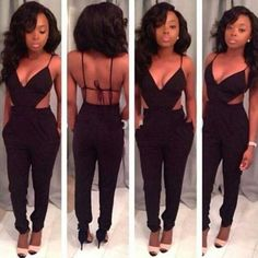 Ladies Sleeveless Sexy V-Neck Backless Jumpsuits