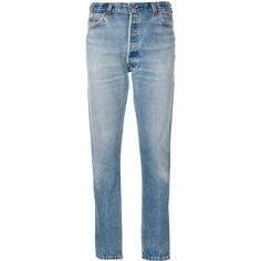 Re/Done ripped detail tapered jeans (605 CAD) ❤ liked on Polyvore featuring jeans, pants, blue, blue jeans, vintage jeans, blue ripped jeans, destruction jeans and tapered fit jeans