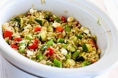 Kalyn's Kitchen®: Slow Cooker Brown Rice Veggie Bowl with Asparagus, Red Bell Pepper, Zucchini, and Feta (Gluten-Free)