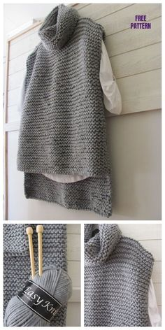 Easy Knit Women Sweater Vest - Free Pattern - knitting is as easy as . - Easy Knit Women Sweater Vest – Free Pattern – Knitting is as easy as 3 Knitting boils dow - Knit Vest Pattern, Knit Sweater Patterns, Easy Knitting Patterns, Knitting Projects, Sewing Patterns, Knitting Ideas, Stitch Patterns, Crochet Patterns, Knitting Tutorials