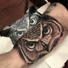 Owl Eye Tattoo, Owl Tattoo Drawings, Wolf Tattoo Sleeve, Grey Tattoo, Sleeve Tattoos, 12 Tattoos, Body Art Tattoos, Tattos, Tribal Arm Tattoos
