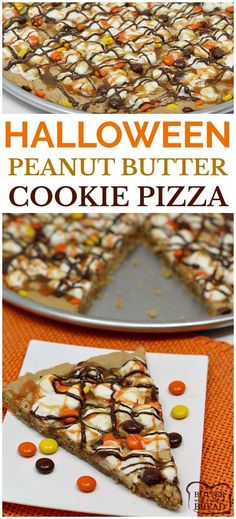 Halloween Peanut Butter Cookie Pizza is topped with marshmallows and Reese's Pieces and then drizzled with #chocolate, #caramel and orange icing! Fun #Halloween #cookie recipe from Butter With A Side of Bread