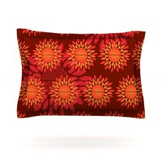 "Yenty Jap ""Sunflower Season"" Orange Red Pillow Sham"