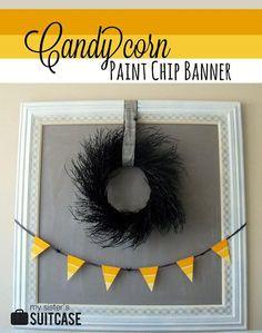 DIY Halloween : DIY  Paint Chip Banner DIY Halloween Decor