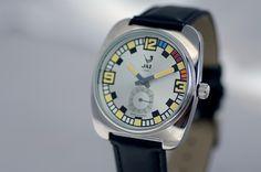 Montre vintage 2002 PHENIX - bracelet en cuir noir, boitier en métal couleur acier et cadran argent - JZ 110-4 - pour homme - Boutique Officielle JAZ - un savoir-faire horloger made in France depuis 1919.