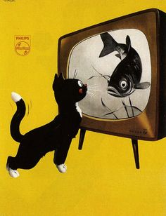 Dutch poster for Philips TV, 1951.  Reminds me of the fish channel and Gracie.