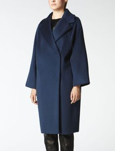 Cashmere, wool and angora coat, midnight blue - Max Mara United Kingdom