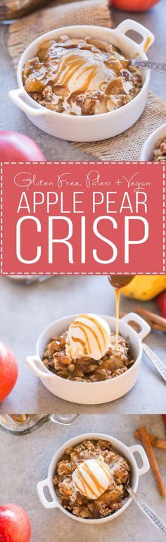 This Pear Apple Crisp combines two of the best fall fruits into one delicious crisp, flavored with vanilla, cinnamon and ginger and topped with a grain-free crumble topping. This crisp is gluten-free, Paleo, and vegan.