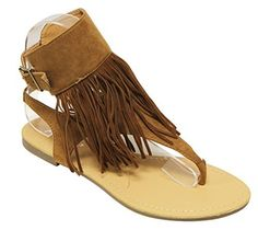 Anna Rebel1 womens slingback buckled ankle strap fringe suede thong sandals Tan 7 >>> Click image to review more details.