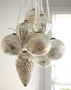 Mercury glass ornaments , Our each price $ 0.60.