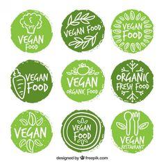 dipinte a mano le etichette degli alimenti vegan arrotondata Vettore gratuito
