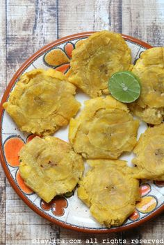 Homemade tostones or patacones plantain chips