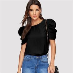 Sheinside Elegant Keyhole Back Puff Sleeve Blouse Solid Top Summer Blouses for Women 2019 Short Sleeve Female Tops Summer Blouses, Summer Shirts, Summer Tops, Plain Tops, Blouses For Women, Women's Blouses, Types Of Sleeves, Fashion News, Fashion Outfits