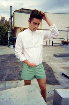 Perfect white shirt/green shorts combo for St Tropez in July