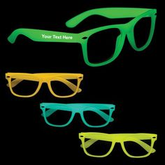 "Custom Printed Glow in the Dark Sunglasses: Available Colors: Green, Orange, Blue, Yellow. Imprint Area: 2"" x 3/8"". Product Size: Adult. Product Weight: 19 lbs. Packaging: 300 pieces. #cstomsunglass #promogifts #glowinthedark"