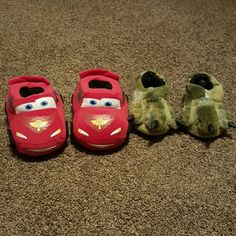 Kids slippers 2 pairs of slippers. One Disney Cars(H&M) and the other are dinosaur slippers(striderite). Both in good condition, dinosaur ones barely used. No holes or tears StrideRite/H&M Shoes