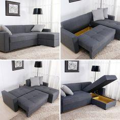Sofá cama com espaço interno para armazenar objetos.