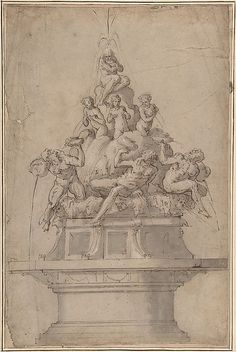 Design for a Fountain with Rivergods and Nymphs - Giorgio Vasari (Italian, Arezzo 1511–1574 Florence)     #TuscanyAgriturismoGiratola