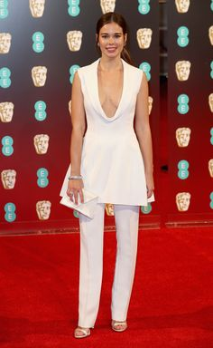 Laila Costa rocked an on-trend pant ensemble and we're totally lovin' it! (Photo by Chris Jackson/Getty Images)  via @AOL_Lifestyle Read more: https://www.aol.com/article/entertainment/2017/02/12/bafta-awards-2017-red-carpet-arrivals/21712310/?a_dgi=aolshare_pinterest#fullscreen