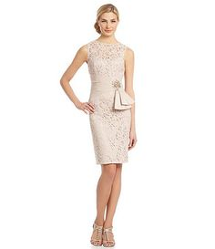 Eliza J Lace Linen-Waist Dress