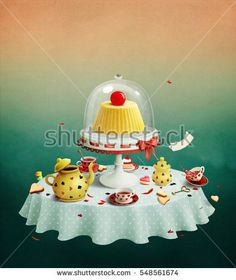 Fantasy illustration of  fairy tale with  round table serving tea set and pudding