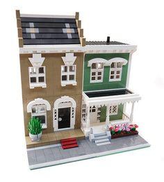 2 City Residential Houses - Modular Buildings: A LEGO® creation by Brian Lyles Legos, Lego Creationary, Lego Moc, Casa Lego, Lego Furniture, Lego Boards, Lego Modular, Cool Lego Creations, Lego Architecture
