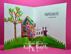 Kelly Booth using the Pop it Ups House Pivot Card, All Seasons Tree and Outdoor Edges dies by Karen Burniston for Elizabeth Craft Designs. - Lovin The Life I Color: A Fun card using Watercolor Backgrounds with Distress Inks!