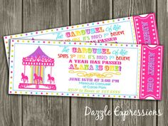 PRintable Carousel Ticket Birthday Invitation | Pink Rainbow | FREE Thank You Card Included | Printable | Matching Party Package Available! Banner | Cupcake Toppers | Favor Tag | Food and Drink Labels | Signs |  Candy Bar Wrapper | www.dazzleexpressions.com
