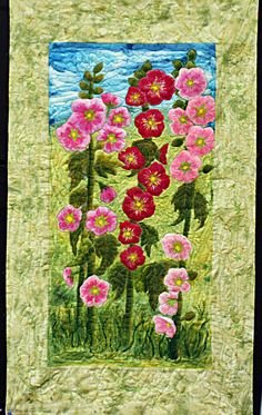 """Original art quilt. Hollyhocks in Sussex. Mounted """"painting style"""". Pink & green hand painted silk.. $260.00, via Etsy."""